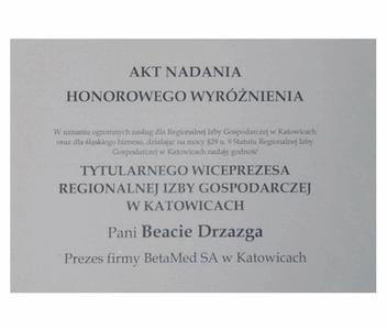 Akt Nadania Honorowego Wyróżnienia Tytularnego Wiceprezesa Regionalnej Izby Gospodarczej W Katowicach