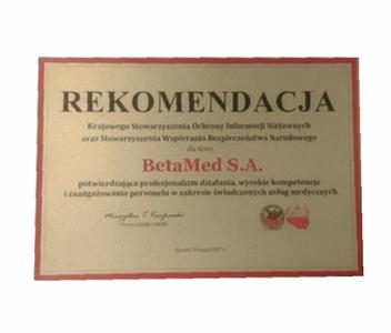 Rekomendacja - potwierdzenie profesjonalizmu, wysokich kompetencji i zaangażowania w świadczone usługi medyczne