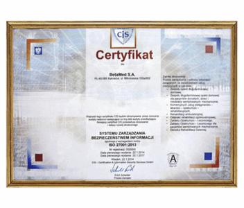 Certyfikat Systemu Zarządzania Bezpieczeństwem Informacji ISO 27001:2013