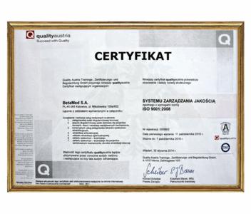 Certyfikat Systemu Zarządzania Jakością ISO 9001:2008