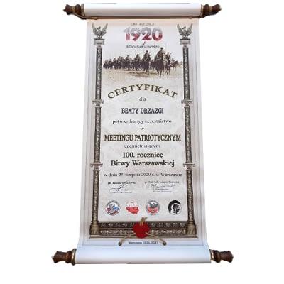 Certyfikat uczestnictwa w meetingu Patriotycznym 2020